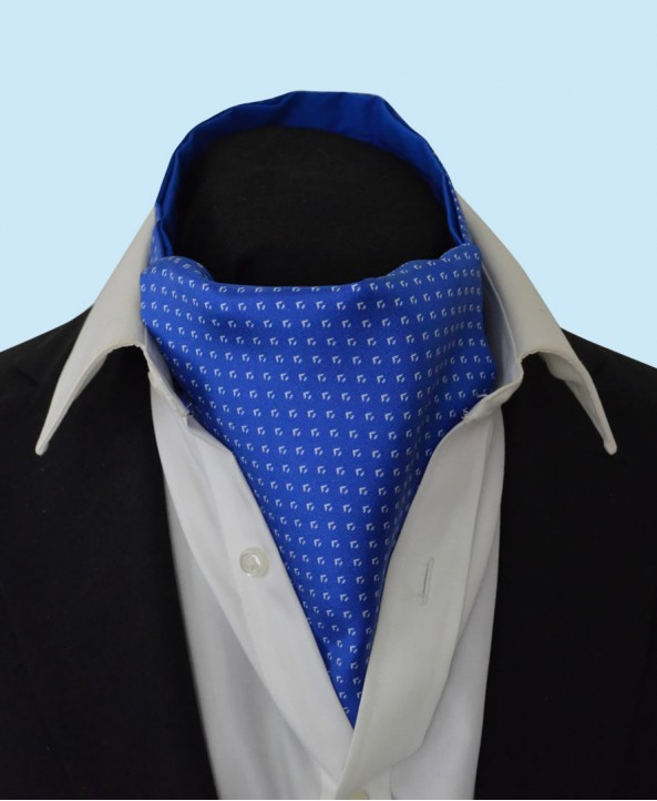 Silk Cravat with Neat Silver Design on a Royal Blue Background