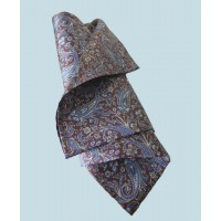 Fine Silk Chinese Dragon Paisley Pattern Hank in Dark Aubergine