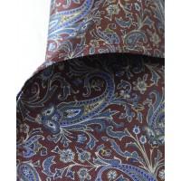 Fine Silk Chinese Dragon Paisley Pattern Hank in Dark Aubergine