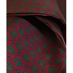 Fine Silk Bullseye Medal Pattern Hank in Red