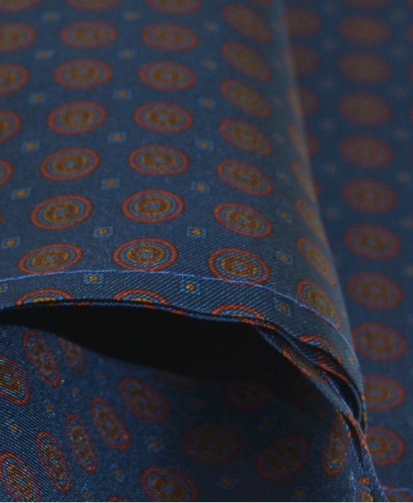 Fine Silk Bullseye Medal Pattern Hank in Blue