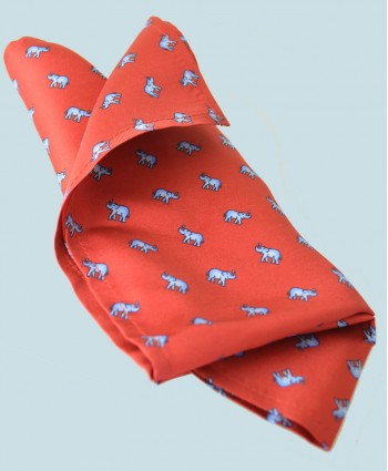 Fine Silk Lucky Elephant Pattern Hank in Red and Light Blue