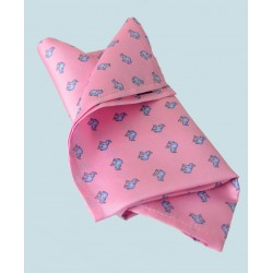 Fine Silk Lucky Elephant Pattern Hank in Pink and Light Blue