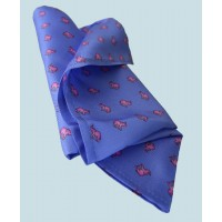 Fine Silk Lucky Elephant Pattern Hank in Light Blue and Pink