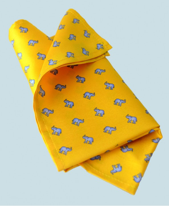 Fine Silk Lucky Elephant Pattern Hank in Yellow and Light Blue