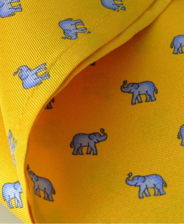 Fine Silk Lucky Elephant Pattern Hank in Yellow and Light Blue