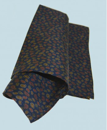 Fine Silk Mini & Micro Paisley Pine Pattern Hank in Navy