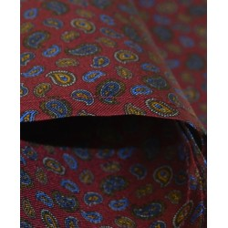 Fine Silk Mini & Micro Paisley Pine Pattern Hank in Red