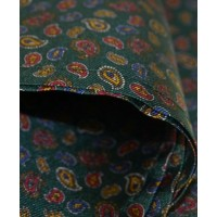 Fine Silk Mini & Micro Paisley Pine Pattern Hank in Green