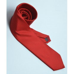 Fine Silk Spotted Tie with Blue Pin Dots on Bright Red