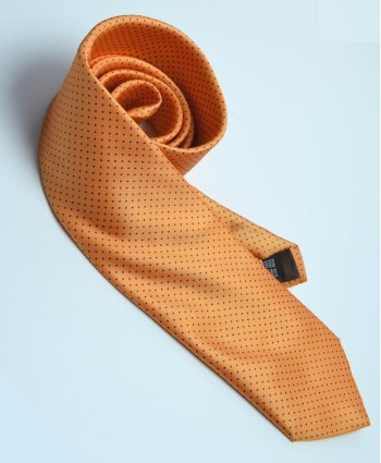Fine Silk Spotted Tie with Blue Pin Dots on Light Orange