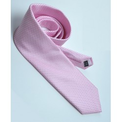 Fine Silk Spotted Tie with Blue Pin Dots on Light Pink