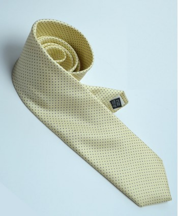 Fine Silk Spotted Tie with Blue Pin Dots on Light Yellow