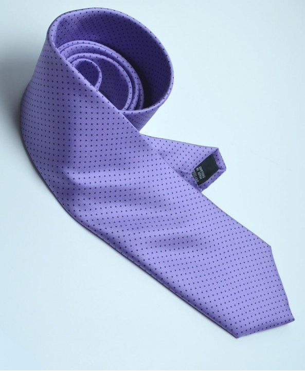 Fine Silk Spotted Tie with Blue Pin Dots on Mauve