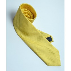 Fine Silk Spotted Tie with Blue Pin Dots on Warm Yellow