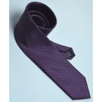 Fine Silk Spotted Tie with White Pin Dots on Aubergine