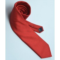 Fine Silk Spotted Tie with White Pin Dots on Scarlet