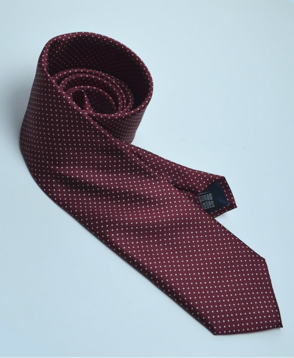 Fine Silk Spotted Tie with White Pin Dots on Wine Red
