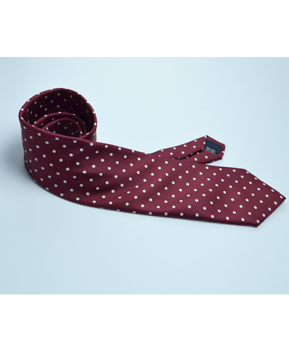 Fine Silk Spotted Tie with White Polka Dot Spots on Wine Red