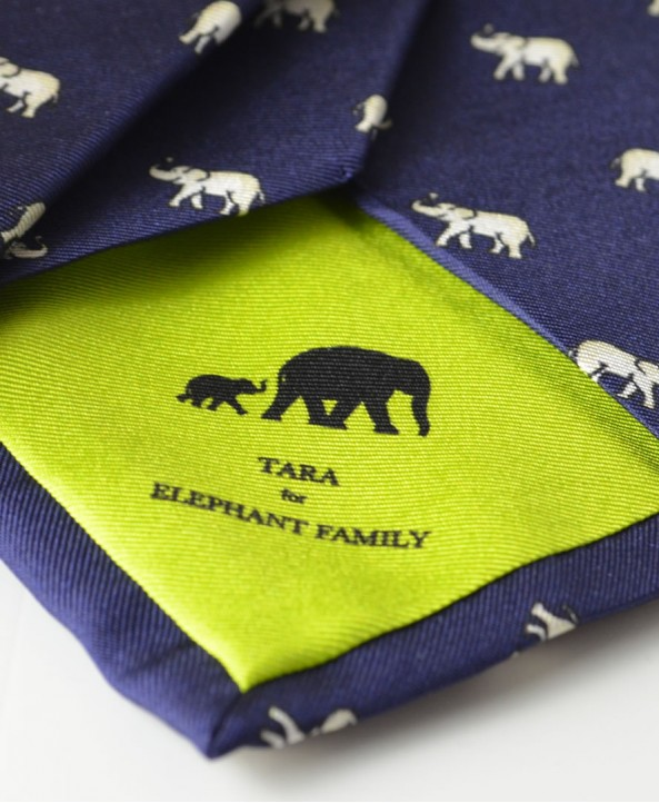 Fine Silk Lucky Elephant Pattern Tie in Navy and White