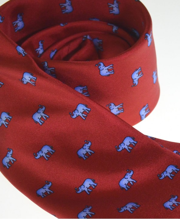 Fine Silk Lucky Elephant Pattern Tie in Red and Light Blue