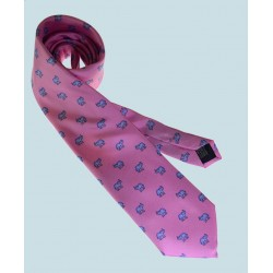 Fine Silk Lucky Elephant Pattern Tie in Pink and Light Blue