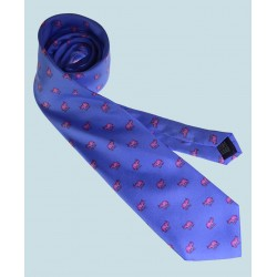 Fine Silk Lucky Elephant Pattern Tie in Light Blue and Pink