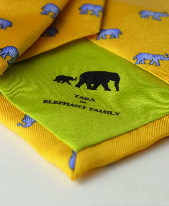 Fine Silk Lucky Elephant Pattern Tie in Yellow and Light Blue