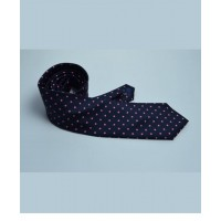 Fine Silk Spotted Tie with Pink Polka Dot Spots on Navy Blue