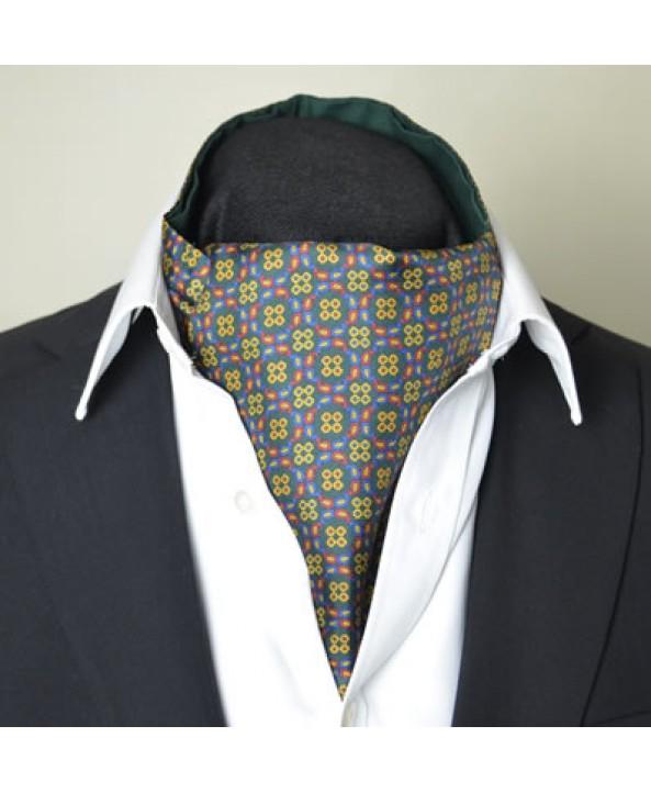 Fine Silk Regency Dancing Ring Pattern Cravat in Green