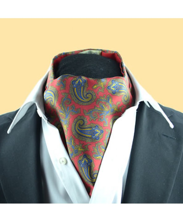 Fine Silk Old Master Paisley Pattern Cravat in Red
