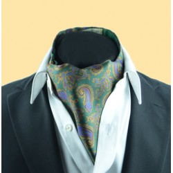 Fine Silk Old Master Paisley Pattern Cravat in Green