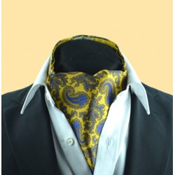 Fine Silk Old Master Paisley Pattern Cravat in Yellow