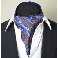 Fine Silk Rococo Royal Orchid Paisley Pattern Cravat in Blue