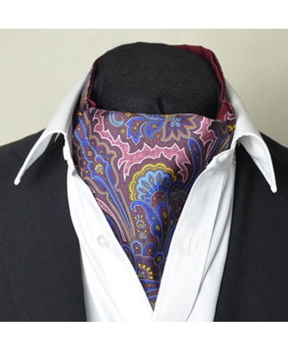 Fine Silk Rococo Royal Orchid Paisley Pattern Cravat in Burgundy