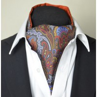 Fine Silk Rococo Royal Orchid Paisley Pattern Cravat in Grey