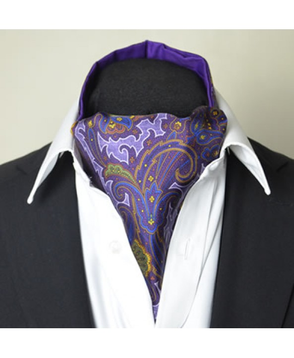 Fine Silk Rococo Royal Orchid Paisley Pattern Cravat in Purple