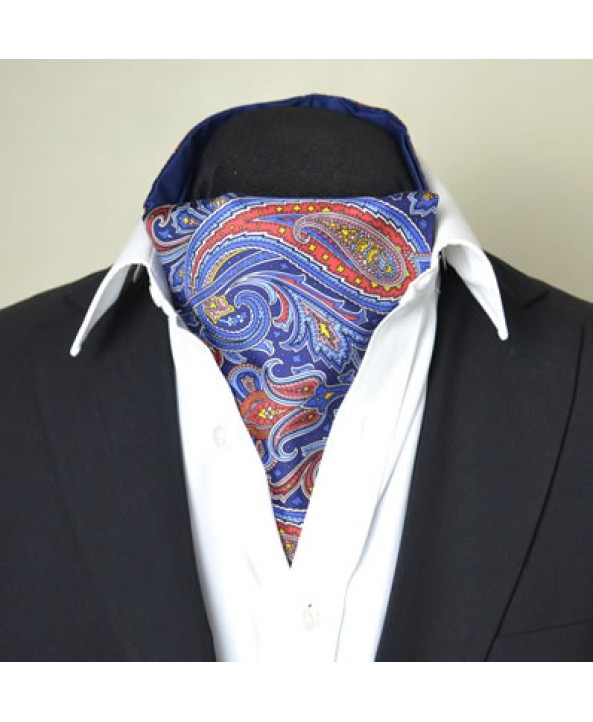 Fine Silk Dream Garden Paisley Pattern Cravat in Royal Blue