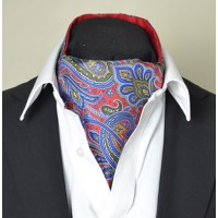 Fine Silk Dream Garden  Paisley Pattern Cravat in Red