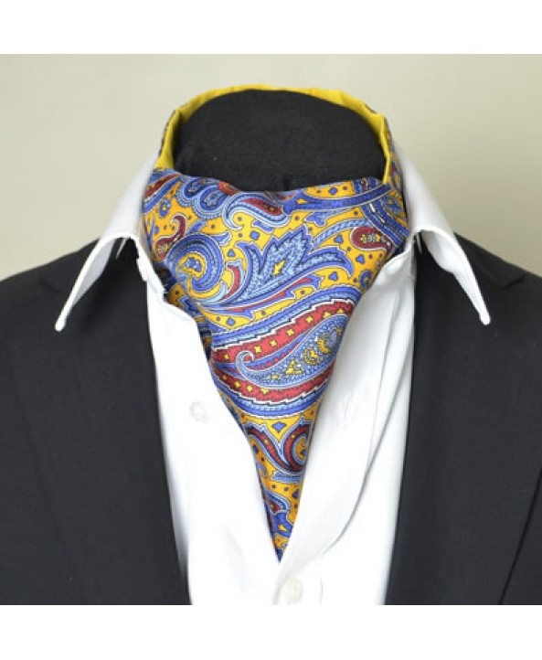 Fine Silk Dream Garden  Paisley Pattern Cravat in Gold