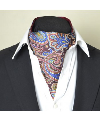 Fine Silk Dream Garden Paisley Pattern Cravat in Chocolate