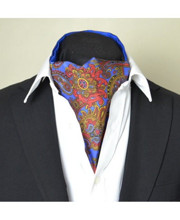 Fine Silk Proud Peacock Paisley Pattern Cravat in Cobalt Blue