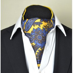 Fine Silk Proud Peacock Paisley Pattern Cravat in Light Gold