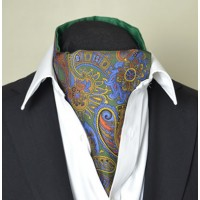 Fine Silk Proud Peacock Paisley Pattern Cravat in Green