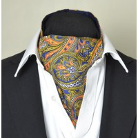 Fine Silk Magical Minstrel Paisley Pattern Cravat in Navy