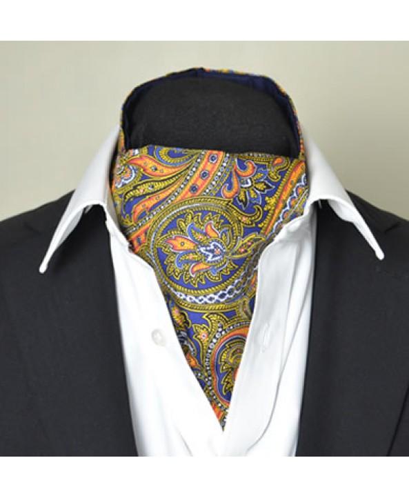 Fine Silk Magical Minstrel Paisley Pattern Cravat in Navy