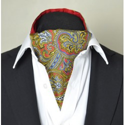 Fine Silk Magical Minstrel Paisley Pattern Cravat in Red