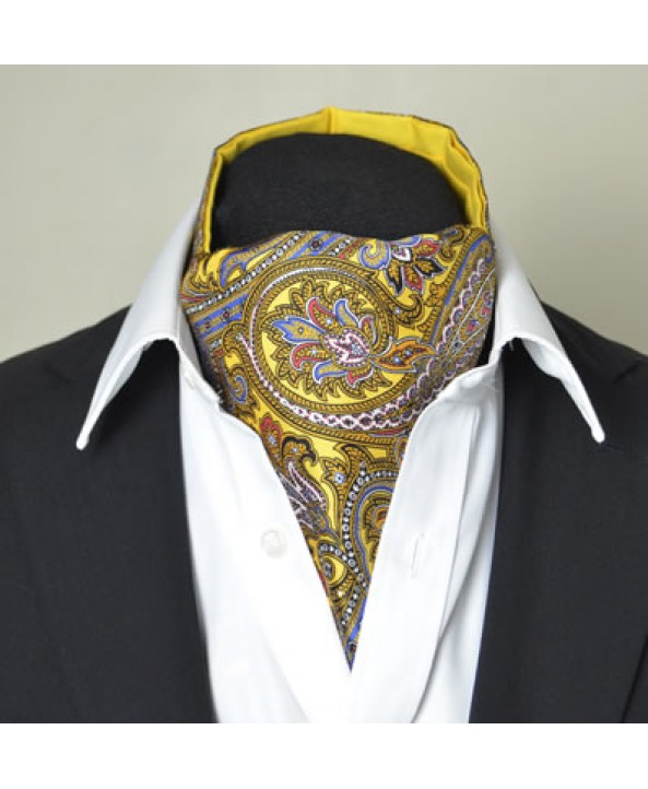 Fine Silk Magical Minstrel Paisley Pattern Cravat in Light Golden Yellow