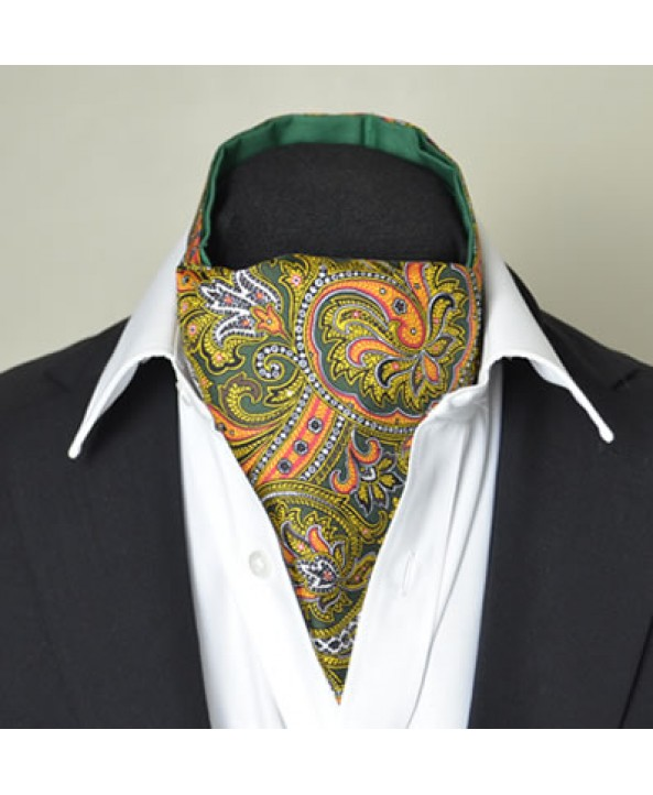 Fine Silk Magical Minstrel Paisley Pattern Cravat in Green