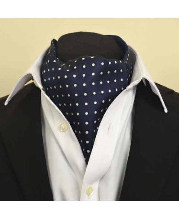 Fine Silk Spotted Cravat with White Spots on Navy Blue